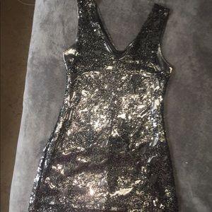 Express Gunmetal grey sequin dress